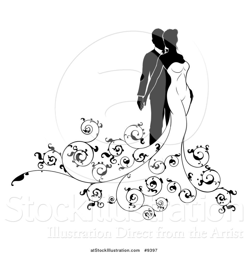 Vector Illustration Of A Black And White Silhouetted