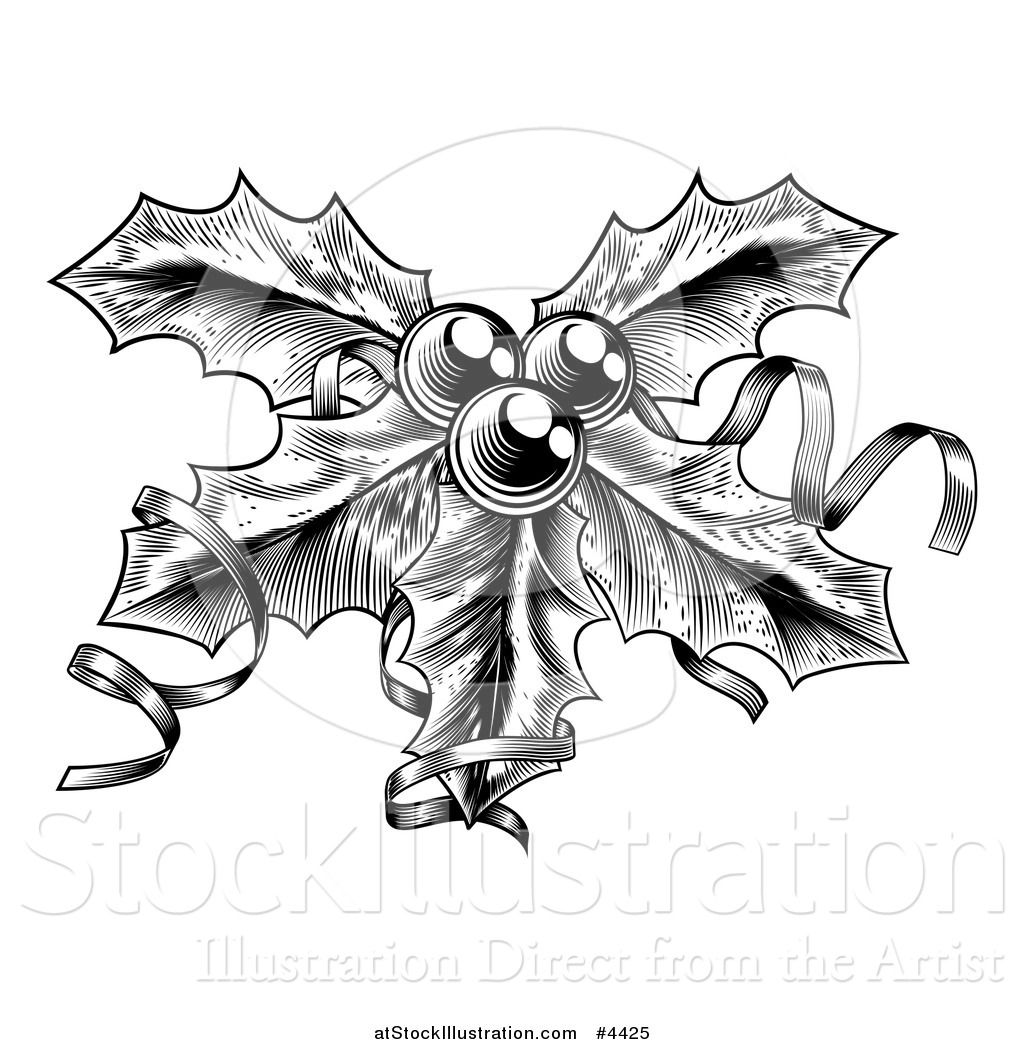 Vector Illustration Of A Black And White Sprig Of