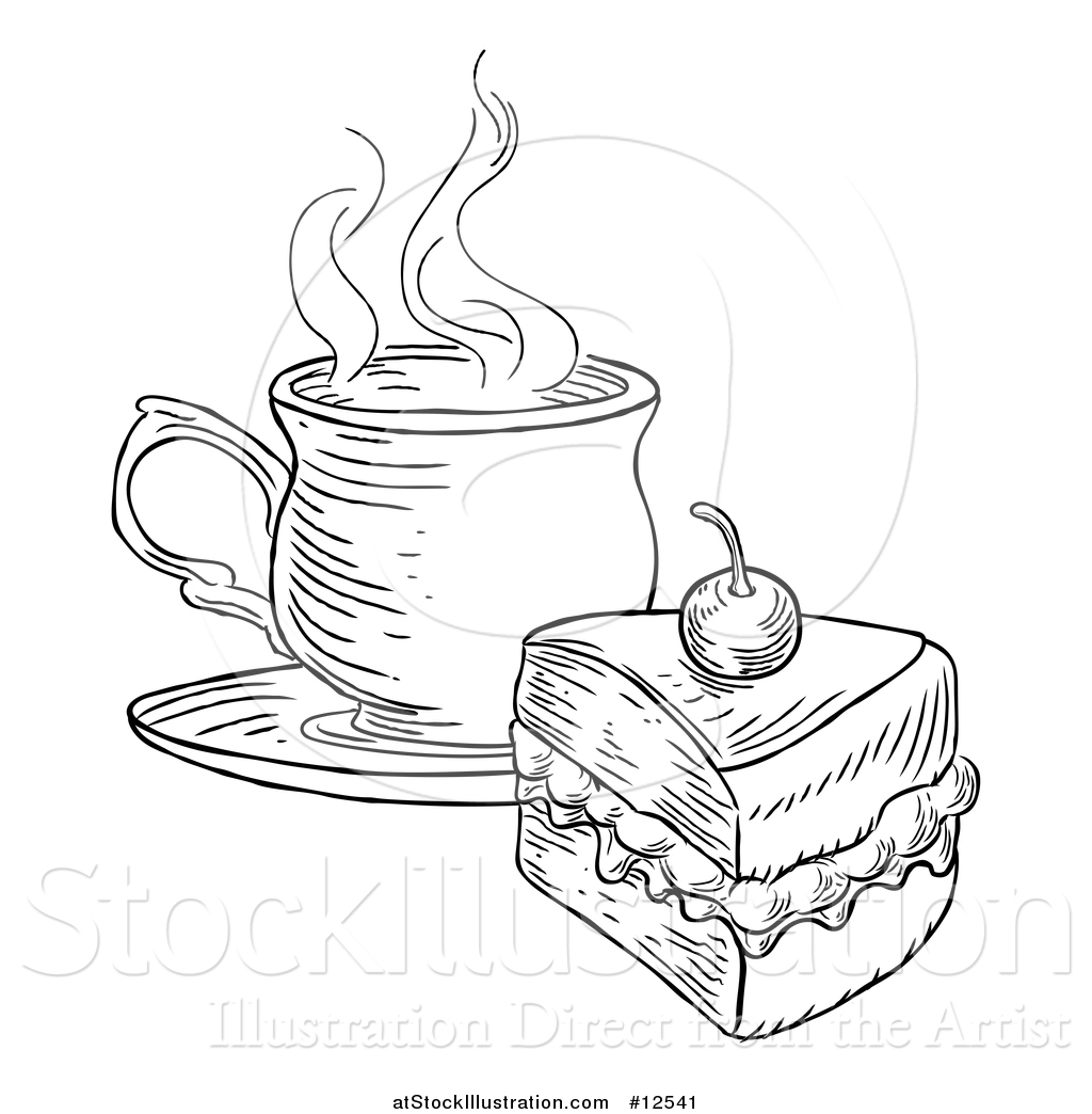 Vector Illustration Of A Coffee And Piece Of Victoria