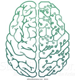 vector illustration of a gradient green half human half artificial intelligence circuit board brain [ 1024 x 1044 Pixel ]