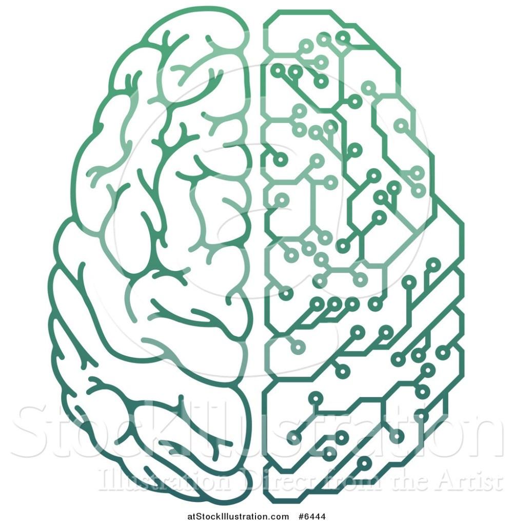 medium resolution of vector illustration of a gradient green half human half artificial intelligence circuit board brain