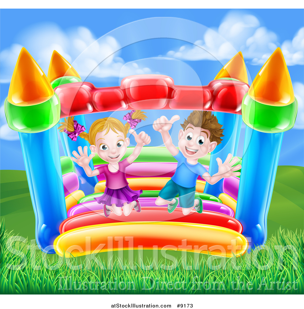 hight resolution of vector illustration of a happy caucasian boy and girl jumping on a bouncy house castle