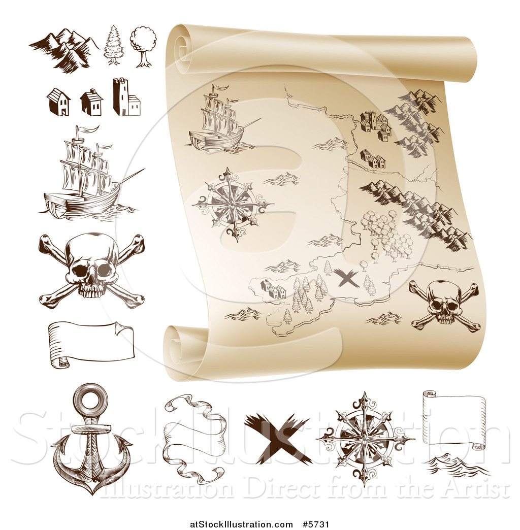 Vector Illustration Of A Pirate Treasure Map Scroll And