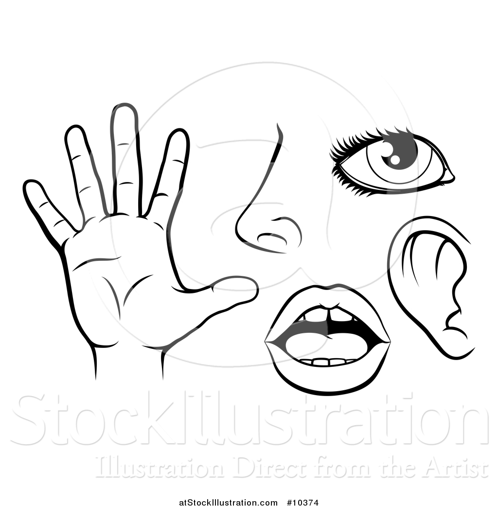 Vector Illustration Of Black And White Icons Of The Five