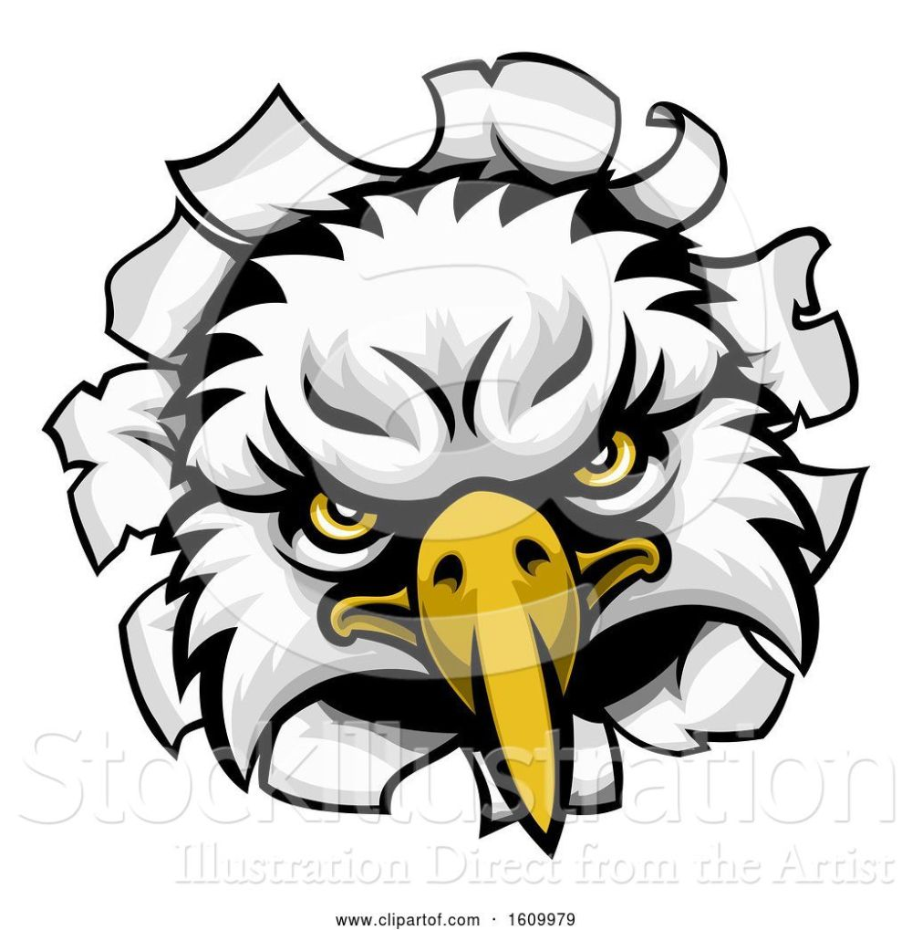 medium resolution of vector illustration of eagle mascot face ripping through background