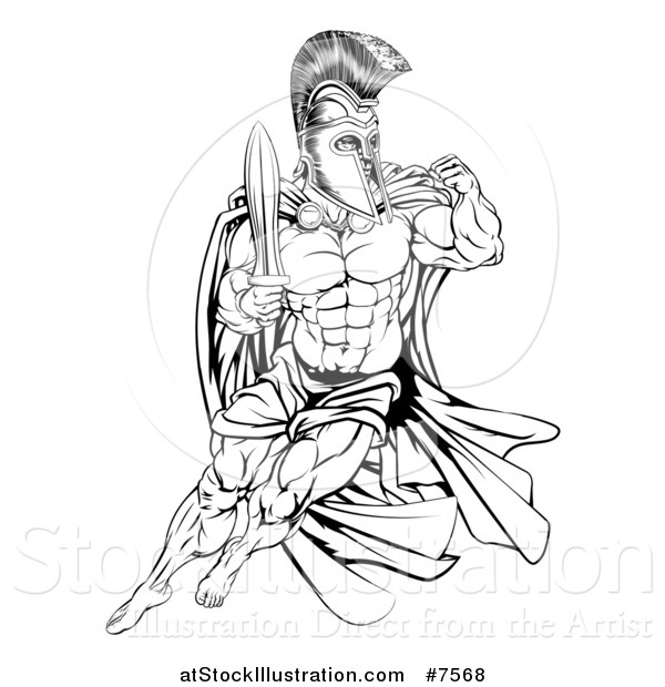 Vector Illustration of a Black and White Muscular