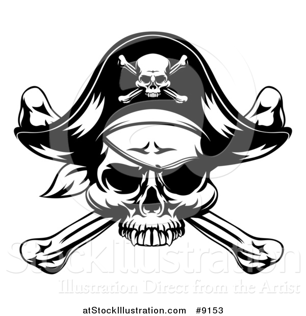 Vector Illustration of a Black and White Skull Wearing an