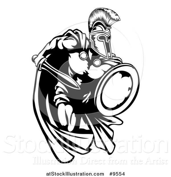 Vector Illustration Of A Spartan Warrior Charging Forward