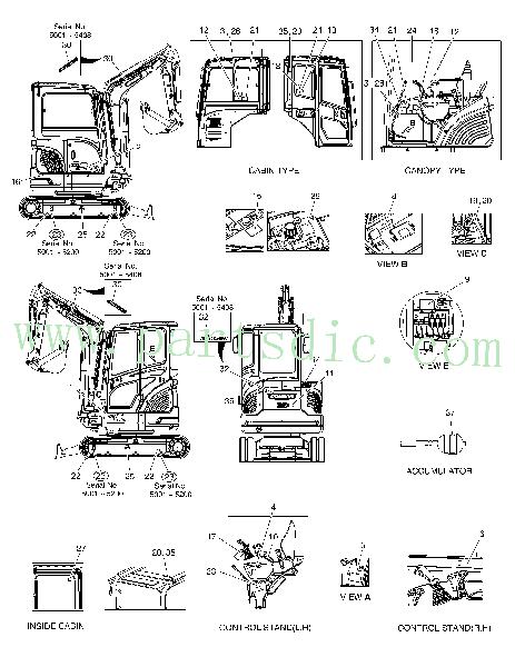 DooSan Excavator DX27Z Decal(doosan) 950205-00658