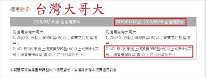 要NP到臺灣大哥大4G的 請注意 WIFI服務只有高資費方案才提供 - Mobile01
