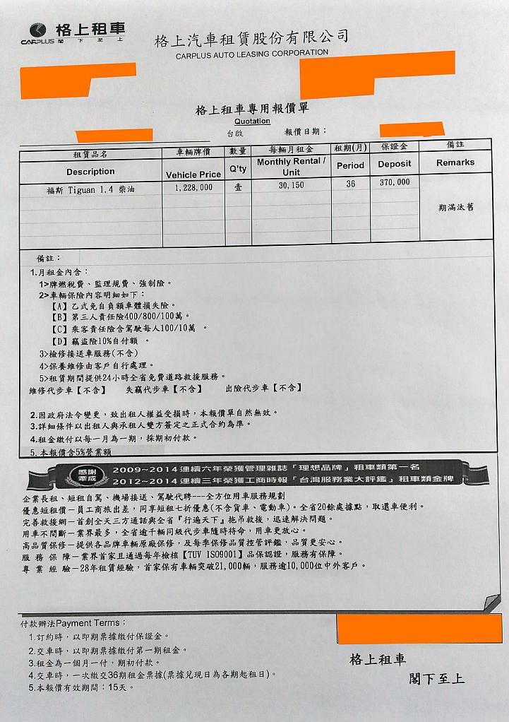 格上租購車VS.福斯租購車 - Mobile01