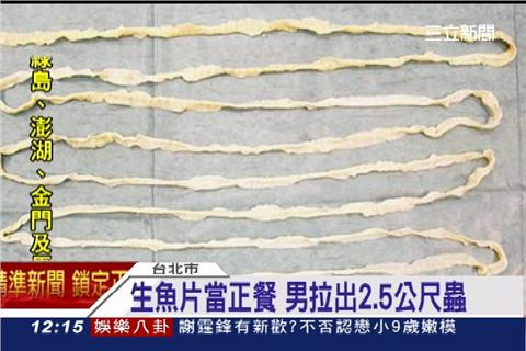 太恐怖!生魚片當正餐 男竟拉出2.5公尺寄生蟲   生活   三立新聞網 SETN.COM