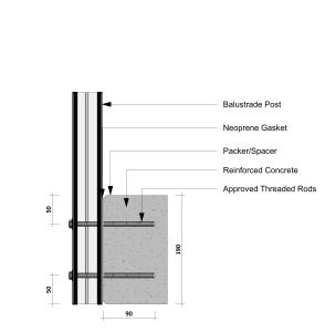 Balustrade concrete side fixing