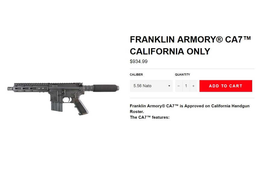 FRANKLIN ARMORY GETS APPROVAL FOR THE CA7 TO BE THE ONLY CALIFORNIA LEGAL AR PISTOL THAT IS NOT A SINGLE SHOT 2.jpg