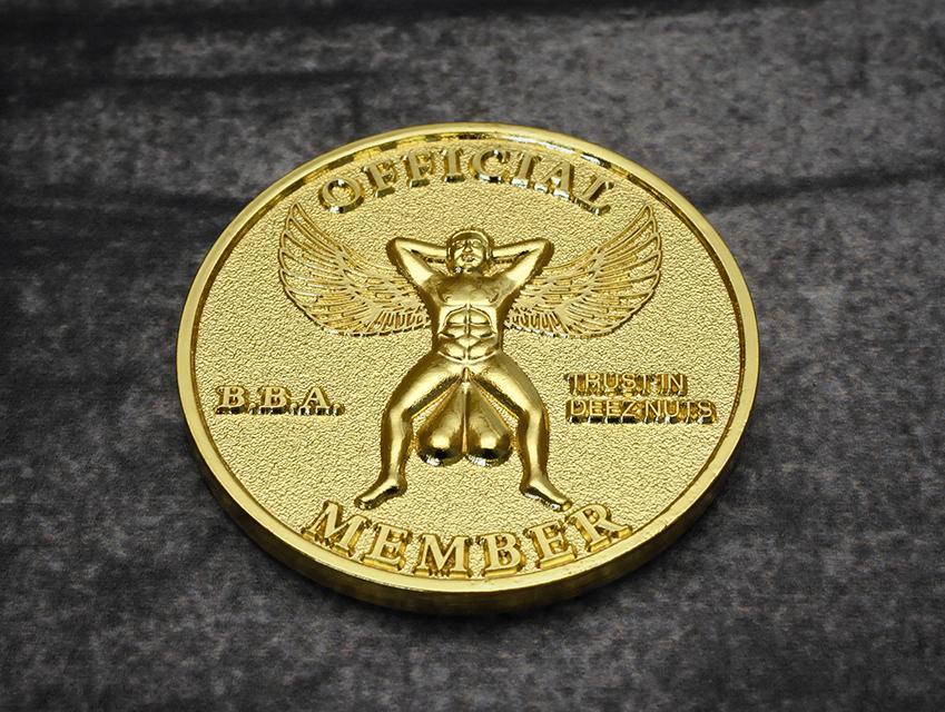 milspin official brass balls association membership coin 1
