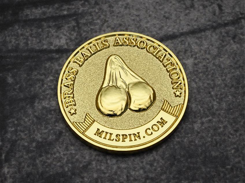 milspin official brass balls association membership coin 2