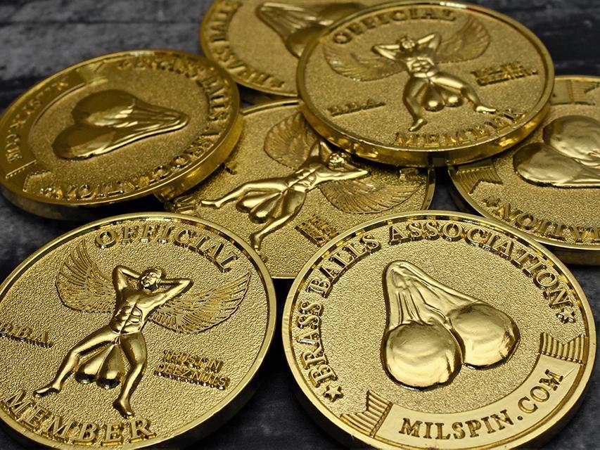 milspin official brass balls association membership coin a