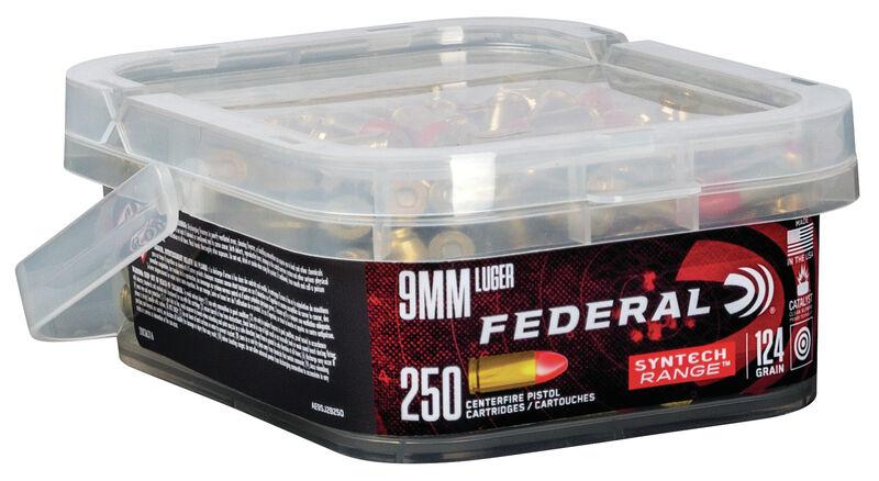 federal premium ammunition bulk 250 count syntec 9mm ammo range ammo 9 3
