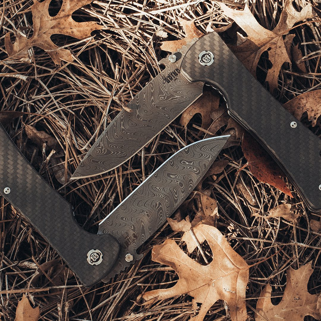 SOUTHERN GRIND ANNOUNCES THE BAD MONKEY DROP POINT W/ EMERSON WAVE CHAD NICHOLS DAMASCUS – BOOMERANG PATTERN KNIFE