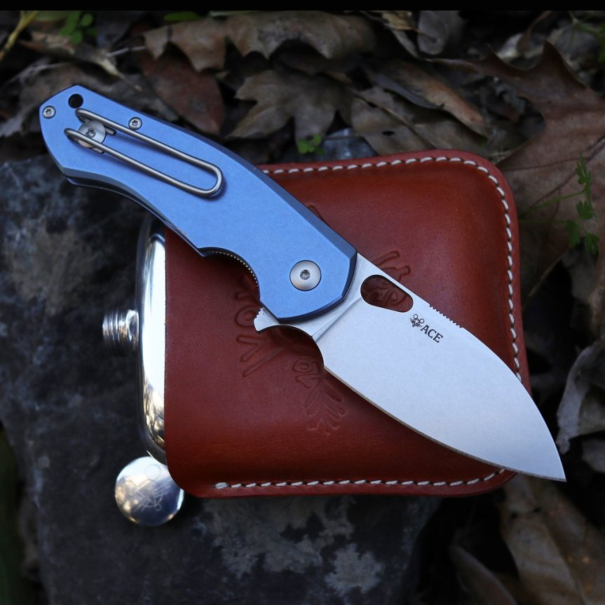 giant mouse ace biblio titanium blue folder knife edc pocket knife everday carry m390 microclean stainless steel 1