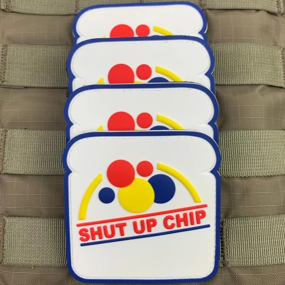 "VIOLENT LITTLE MACHINE SHOP LAUNCHES THE ""SHUT UP CHIP!"" PVC MORALE PATCH."
