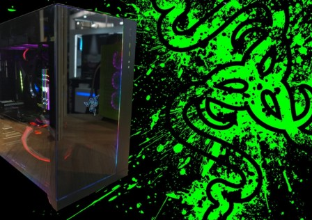 Razer-Splashed-Symbol-Log-Green-in-Black-Backgroung-WallpapersByte-com-2560×1080