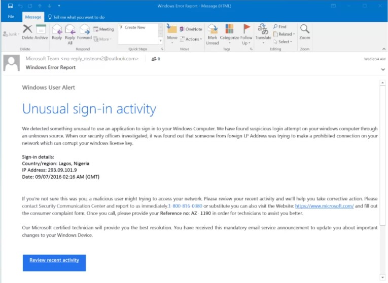 Another phishing emails example