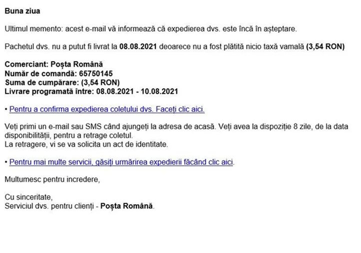 A new phishing campaign impersonates the Romanian Post.