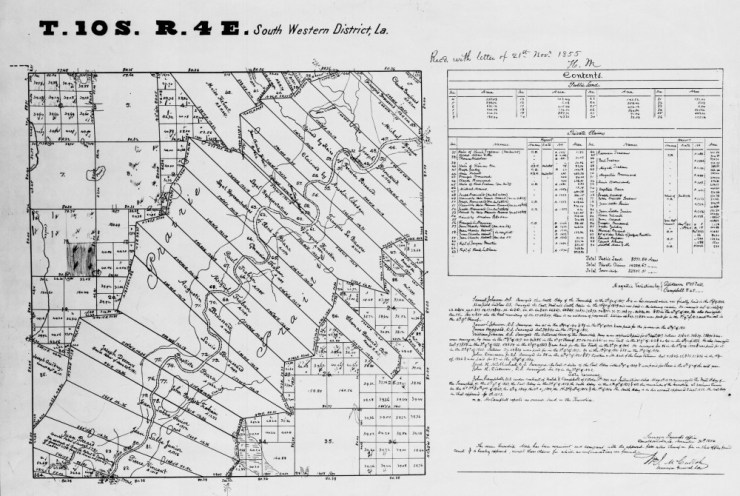 1854 Louisiana's Surveyor's Original Plat