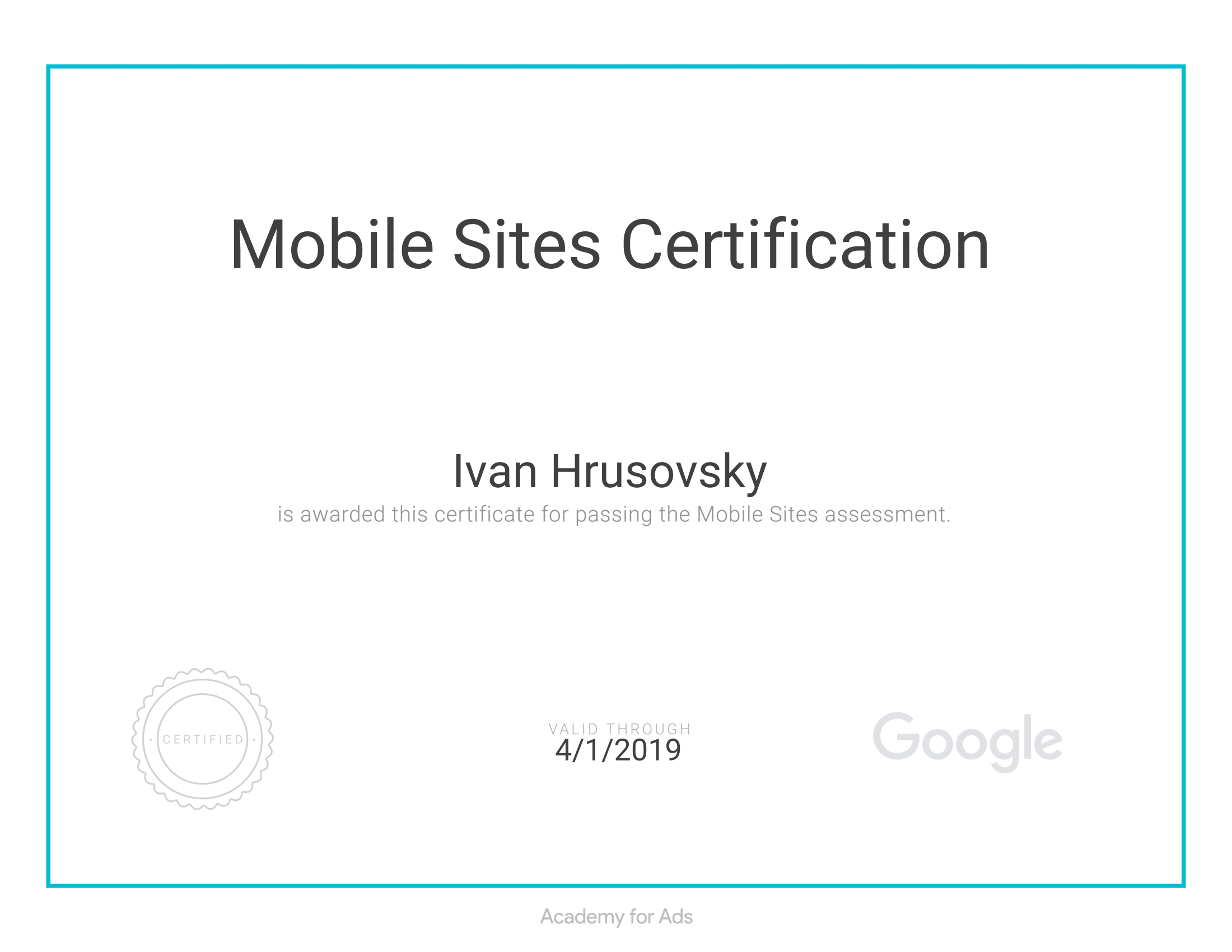 Mobile Sites Certification