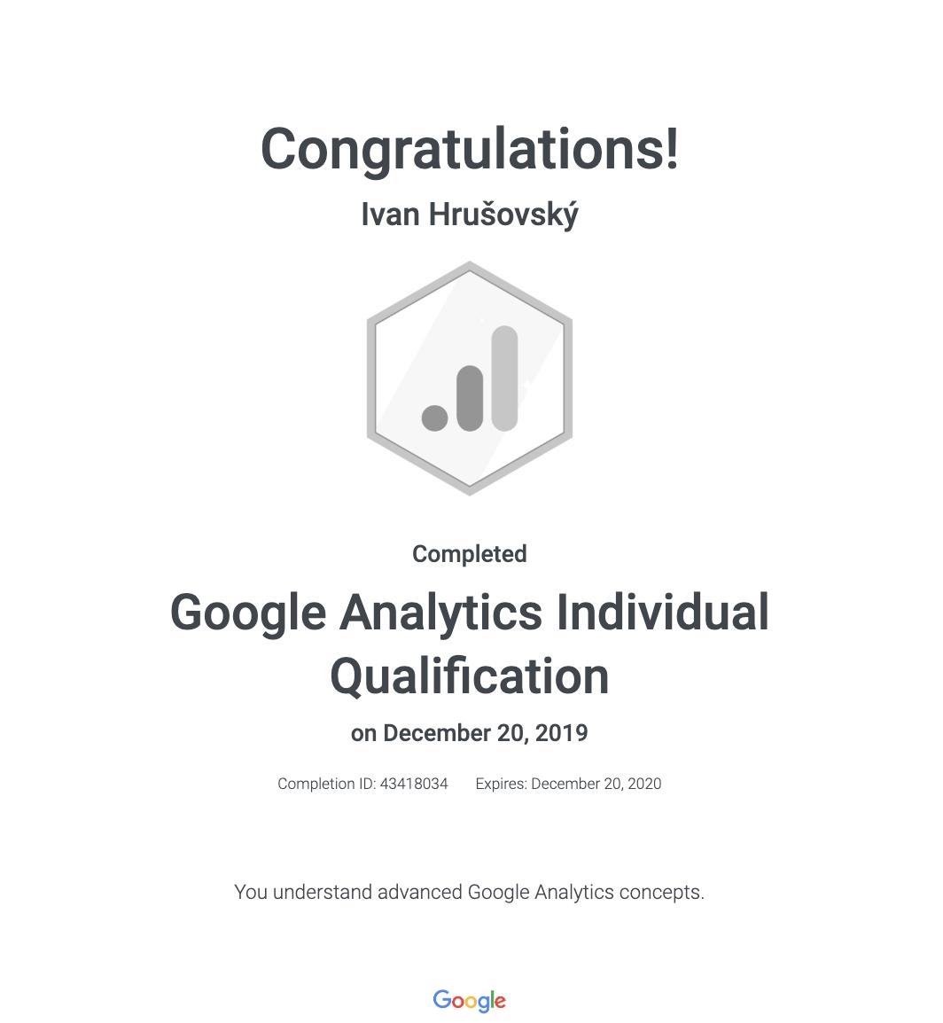 Google Analytics certifikát