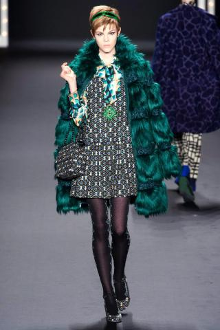 Teal, fur, 60s patterns at the Anna Sui show (photo from The Cut)