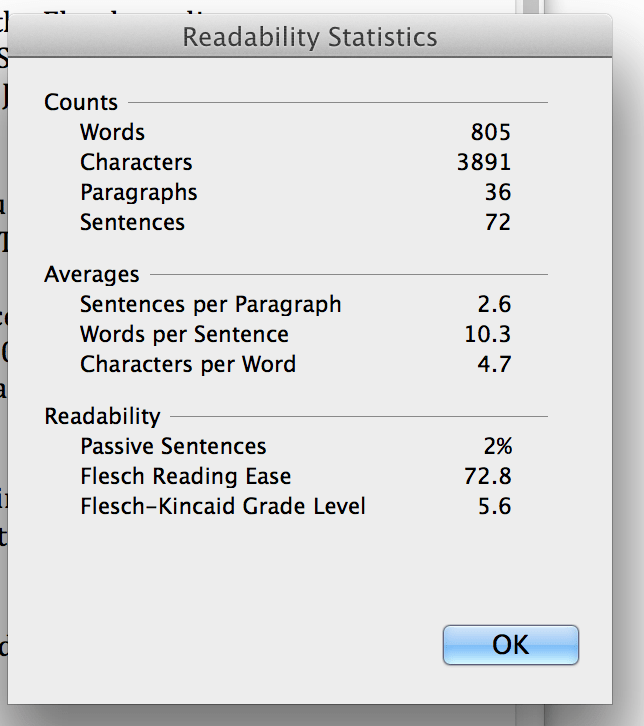 Readability Score in Microsoft Word