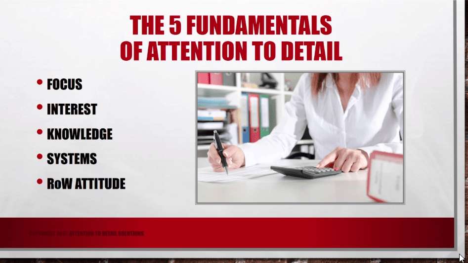 Five Fundamental Elements of Attention to Detail Online Training Course