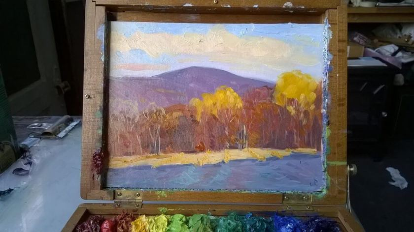 Landscape painting by Judith Reeve in a pochade box