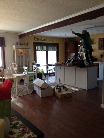 Hanging lights in the kitchen