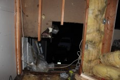 The start of our home renovations in late October - we found damage behind the paneling and had to have part of the wall replaced!
