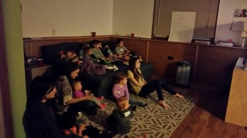 Small Group kids at the end of the night - movie time!