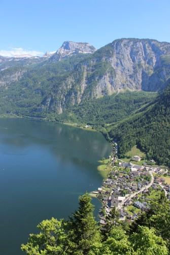 UNESCO World Heritage view over Hallstatt and majestic Alps.