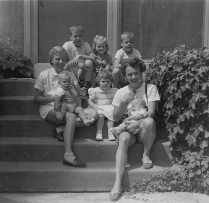 The Hagenah and Rich families on the steps of Hillcroft in the summer of 1953.
