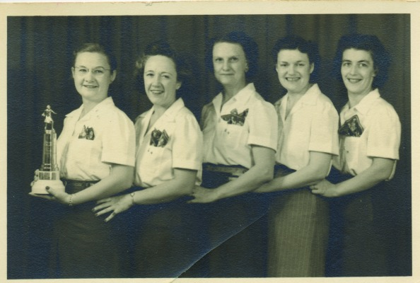 "One of the	local bowling	teams from the Thursday night	ladies' league included Katherine ""Tottie"" Peterson, unknown, unknown, Genevieve	Potter Morrissy, and Fran Smith."