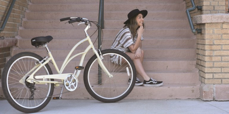 bike and girl in Lake Geneva