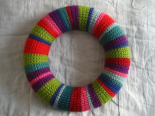 crochet christmas chair covers attached to desk attic24 wreath ta dah i found a split ring the sort you use for keys in bowl of useful little objects hallway and managed thread it through on