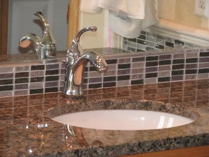Granite With A Tile Backsplash