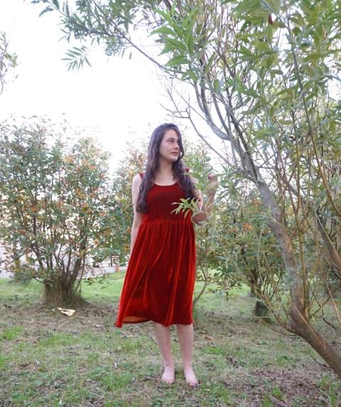 Red Velvet Lilou Dress (attieanddora.com) Shetland