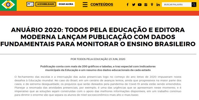 Anuário 2020: Todos Pela Educação e Editora Moderna lançam publicação com dados fundamentais para monitorar o ensino brasileiro