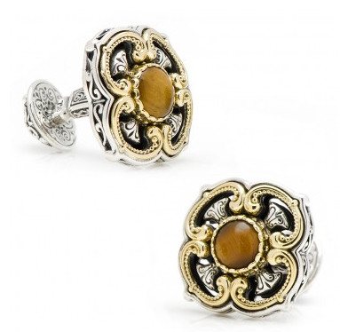 18k Gold Tigers Eye Cross Cufflinks by Konstantino found on cufflinks.com