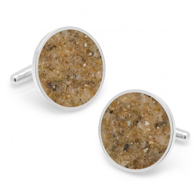 Cufflinks with sand from Fiji beach found on the cufflinks.com website