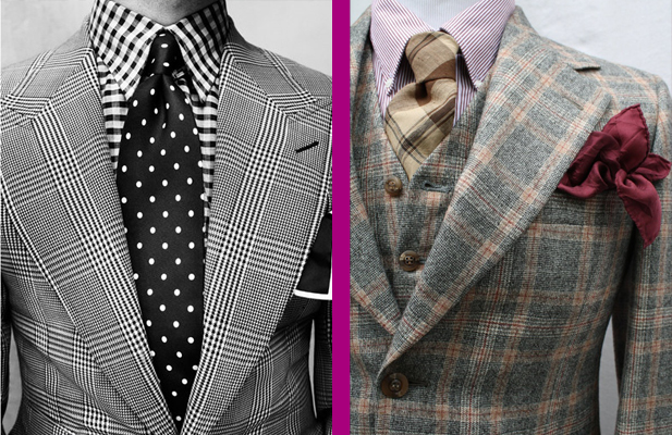 Glen plaid jackets. As you can see in the picture on the left, you can really mix this pattern with other patterns as well!
