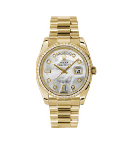 New Rolex Men's New Style Day-Date Watch - Yellow Gold President Mother of Pearl Diamond Dial - Diamond Bezel - Presidential Bracelet